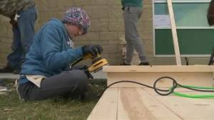 Young Lethbridge students help piece together outdoor classroom