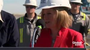 Alberta Premier Rachel Notley reacts to potential PC/Wildrose merger (01:03)