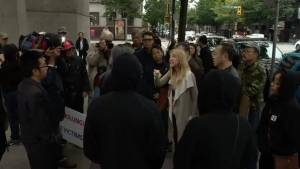 Demonstrators square off outside courthouse where Marrisa Shen murder suspect appears