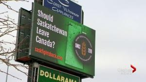 Separatist billboard campaign asks if Saskatchewan should leave Canada