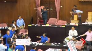 Brawl erupts in Taiwan parliament over infrastructure budget