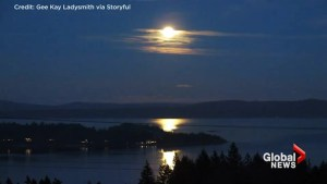Supermoon Lights Up Ladysmith Harbour, British Columbia