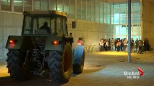 Catalan polling station sees tractor parked outside to block police ahead of vote