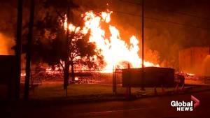 Massive fire burns down Jim Beam facility in Kentucky