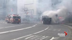 NYPD truck catches fire in New York City