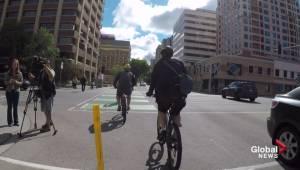 Downtown Edmonton's new bike lanes immediately put to use (01:56)