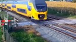 Man nearly hit by train in Netherlands caught on camera