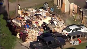 Aerial footage shows massive mounds of trash as Houston digs out from Hurricane Harvey
