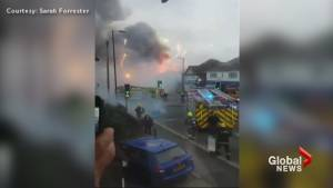Fireworks explode after British garden centre catches fire