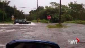 Flash flooding on Hawaii Island's Puna District as Hurricane Lane hits