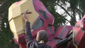 Ontario man builds giant Iron Man for Halloween