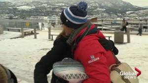 Hugging it out in Kelowna on Boxing Day