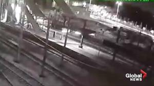 CCTV shows moment high speed train crashes in Turkey (00:36)