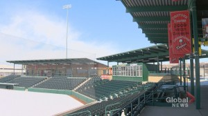 Bad weather delays seat expansion at Seaman Stadium in Okotoks
