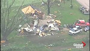 Aerial footage shows devastating aftermath of tornado in Kansas City