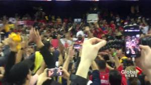 NBA Finals: 'We the North' Raptors fans celebrate at Oracle Arena following Game 4 win (00:16)
