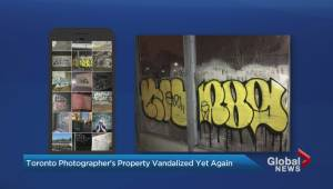 Toronto photographer routinely catches graffiti artists tagging alley beside studio (01:59)