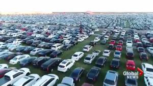 Drone shows thousands of cars damaged by Hurricane Harvey