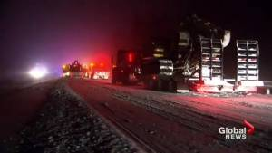 Clean-up continues after Tuesday's multi-vehicle crash on Highway 401