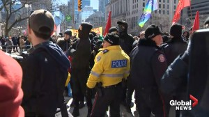 Tempers flare as counter-protesters outnumber attendees at far-right rally in Toronto