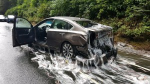 Overturned truck dumps slime eels on Oregon highway