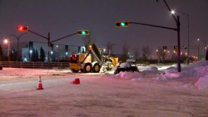 Car, snow-clearing truck collide in Anjou