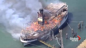 Historic Detroit River steamship engulfed in flames