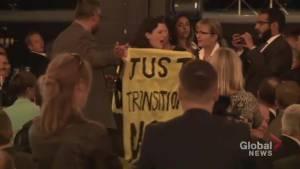 Protesters interrupt Bill Morneau speech in Calgary