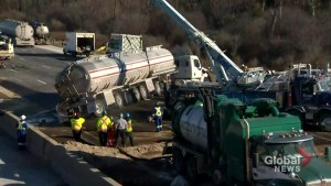 Tanker crash spills jet fuel on Highway 401