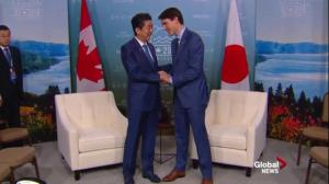 Trudeau welcomes Japan's Abe to Charlevoix for G7 meetings