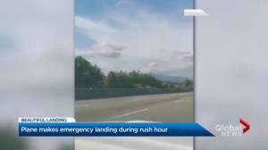 'Perfect landing' of plane on Surrey highway praised