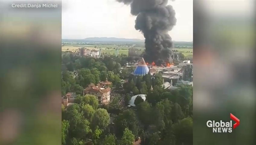 Largest German theme park evacuated as fire burns through rides