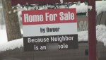 'For Sale' sign in Kelowna with vulgar language