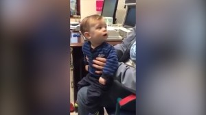 Toddler hears parents' voices for the first time