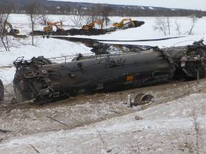 Aerial view of Manitoba spill from derailed tanker cars