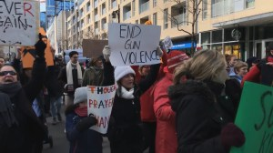 Hundreds take to the streets in Montreal to push for better gun control legislation in U.S.