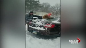 This dad has a unique way to clean snow off his car