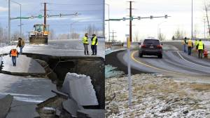 Alaskans praised for quick road repairs after earthquake