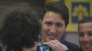 Justin Trudeau greets people at Montreal subway station