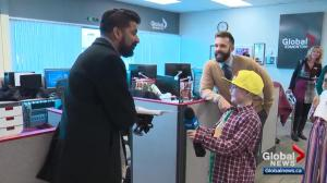 Special guests from Kids with Cancer Society learn what it's like to be a Global News reporter