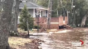 N.B. flooding: High water levels on Grand Lake send waves lapping against homes
