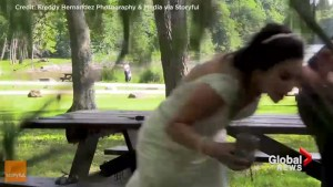 Newlyweds barely dodge falling tree during wedding video