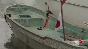 Japanese fishing boat washes up in tsunami debris