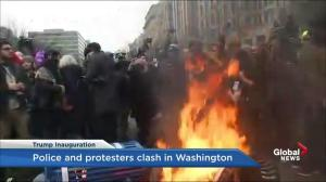Trump inauguration: Protesters set fire to garbage cans in Washington