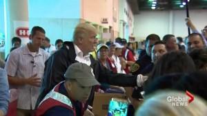 President Trump, First Lady help serve food at Hurricane Harvey flood evacuation centre