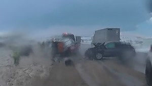Dash cam shows roadside collision