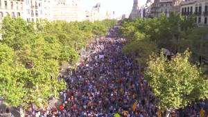 Aerial video shows Barcelona streets packed during unity rally