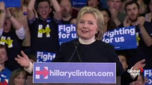 Democratic presidential candidate Hillary Clinton thanks New Hampshire supporters, family