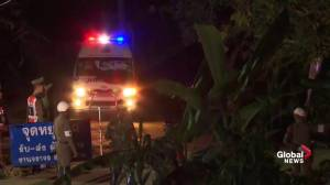 Ambulance seen leaving cave site after rescues completed