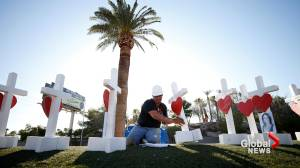 Crosses with hearts set up in Las Vegas as tribute to shooting victims